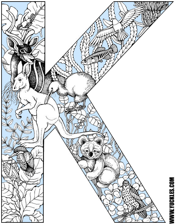 Letter k coloring page by yuckles for The letter k coloring pages