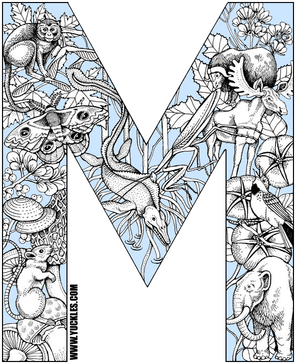 this is a coloring page for the letter m that