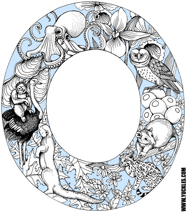 letter o coloring page by yuckles
