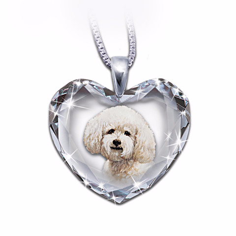 Bichon Frise Heart-Shaped Crystal Necklace