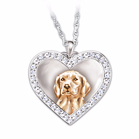 Labrador Retriever Devoted Friend Engraved Heart-Shaped Pendant Necklace