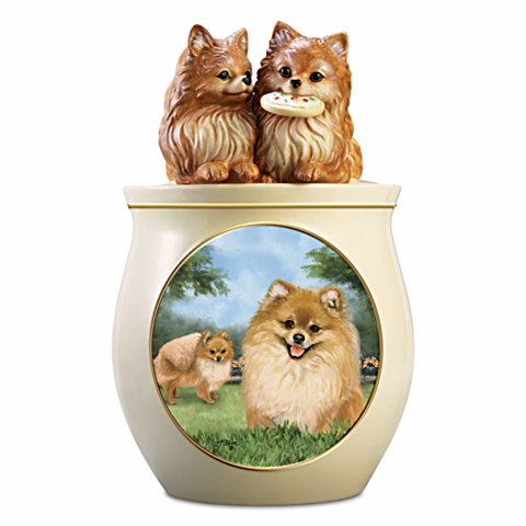 Pomeranian Cookie Jar by Linda Picken