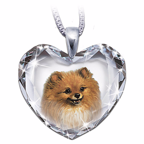 Pomeranian Heart-Shaped Crystal Pendant Necklace