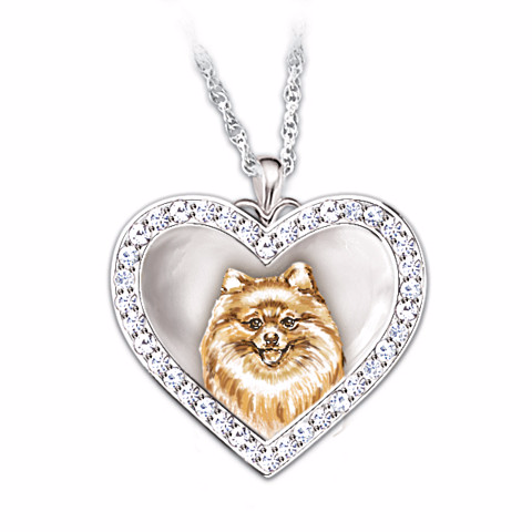 Pomeranian Devoted Friend Engraved Heart-Shaped Pendant Necklace