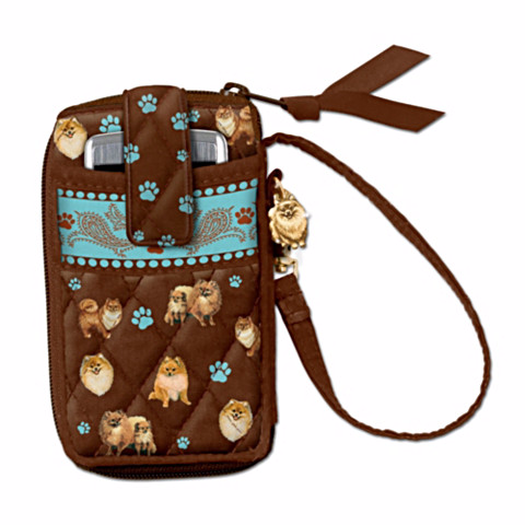 Pomeranian Loving Companion Cell Phone Holder Wristlet
