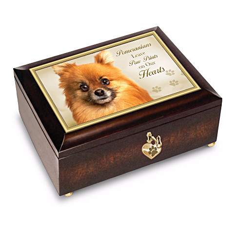 Pomeranian Leave Paw Prints On Our Hearts Music Box