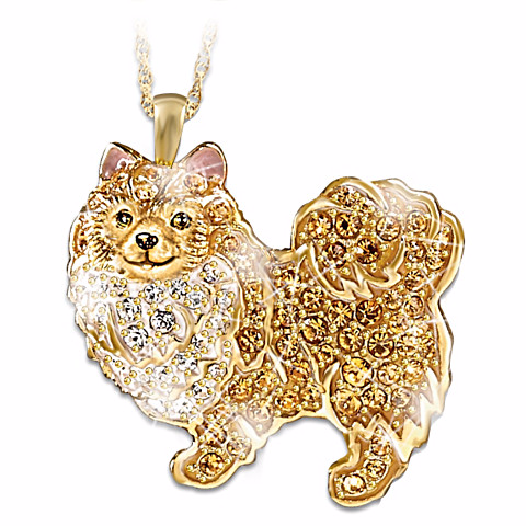 Pomeranian Pendant Necklace with Swarovski Crystals