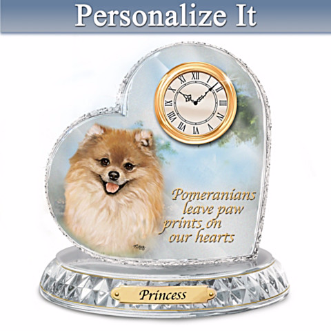 Pomeranian Personalized Clock by Linda Picken