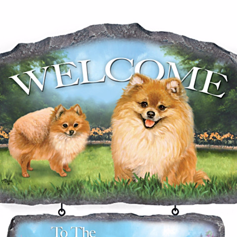 Pomeranian Personalized Welcome Sign by Linda Picken