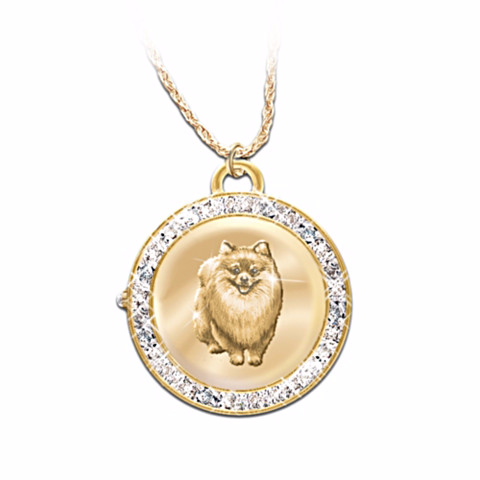 Pomeranian Watch Reversible Pendant Necklace
