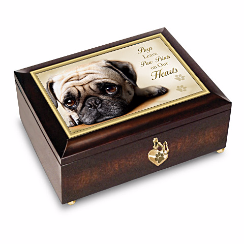 Pugs Leave Paw Prints On Our Hearts Music Box