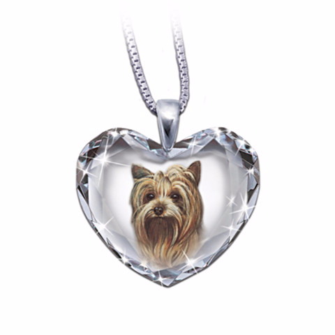 Yorkie Heart-Shaped Crystal Pendant Necklace