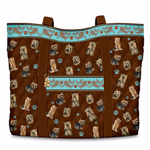 Yorkie Faithful Friend Quilted Tote Bag