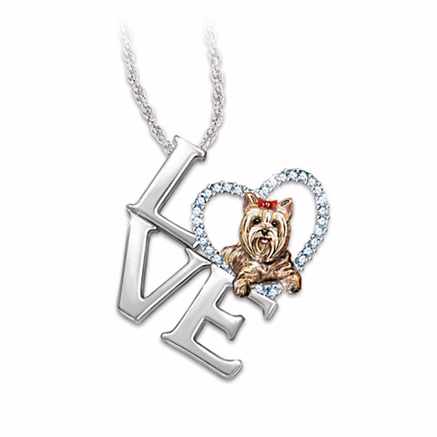 Pendant Necklace: Love Is A Yorkie