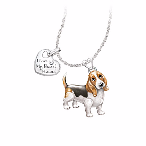 Basset Hound Lover's Diamond Pendant Necklace