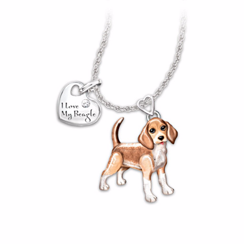 Beagle Lover's Diamond Pendant Necklace