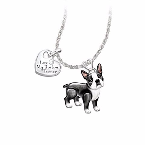 Boston Terrier Lover's Diamond Pendant Necklace