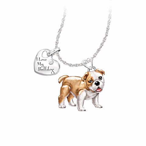 Bulldog Lover's Diamond Pendant Necklace