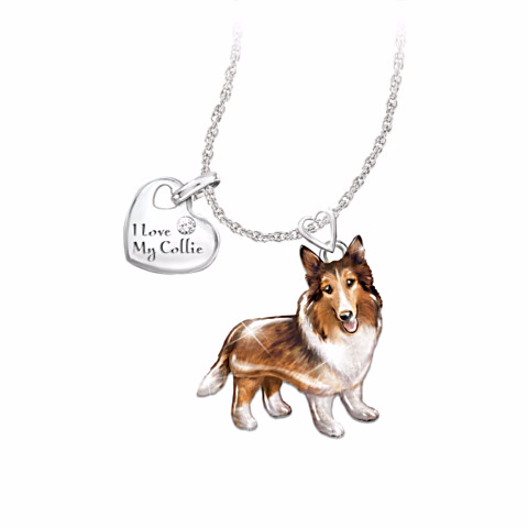 Collie Lover's Diamond Pendant Necklace