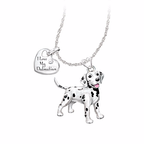 Dalmatian Lover's Diamond Pendant Necklace