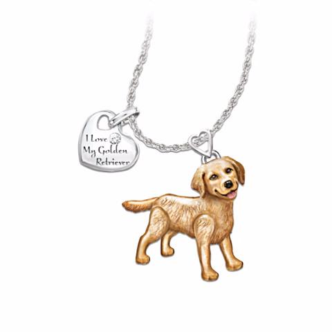 Golden Retriever Lover's Diamond Pendant Necklace