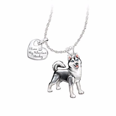 Husky Lover's Diamond Pendant Necklace