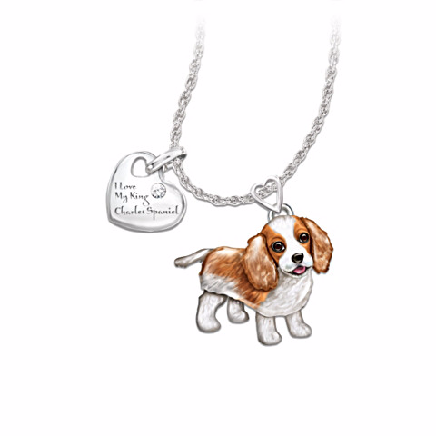 Cavalier King Charles Spaniel Lover's Diamond Pendant Necklace