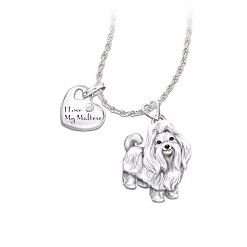 Maltese Lover's Diamond Pendant Necklace