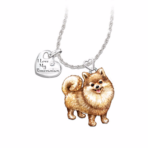 Pomeranian Lover's Diamond Pendant Necklace