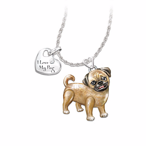 Pug Lover's Diamond Pendant Necklace