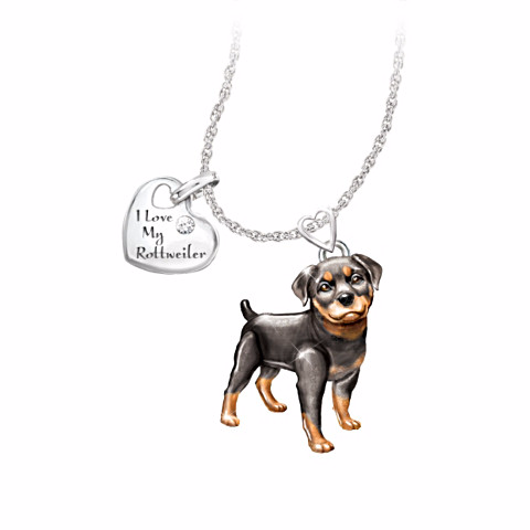 Rottweiler Lover's Diamond Pendant Necklace