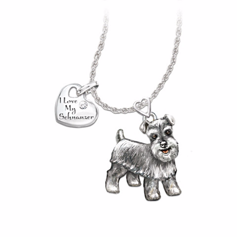 Schnauzer Lover's Diamond Pendant Necklace