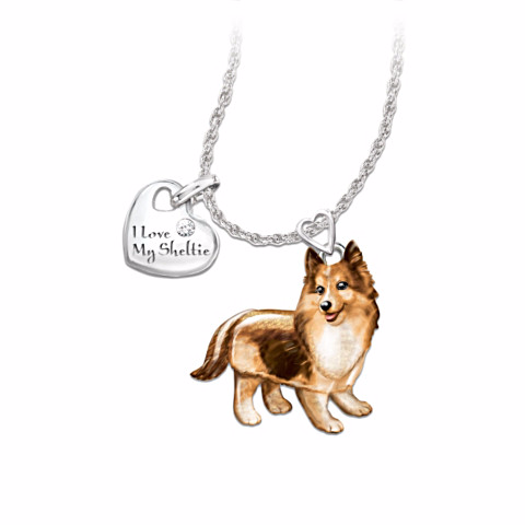 Sheltie Lover's Diamond Pendant Necklace