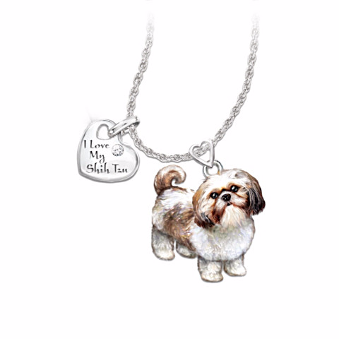 Shih Tzu Lover's Diamond Pendant Necklace