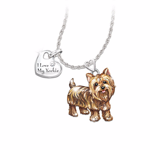 Yorkshire Terrier Lover's Diamond Pendant Necklace