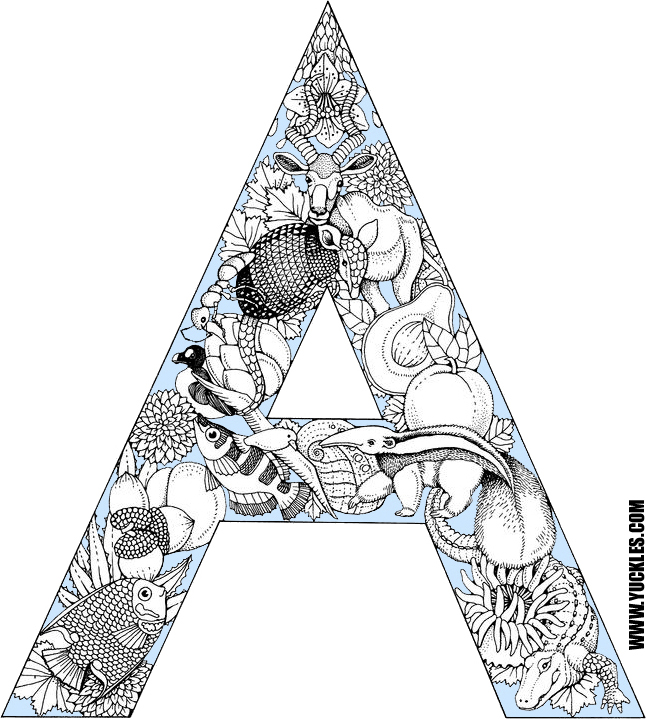 Letter A Coloring Page by YUCKLES